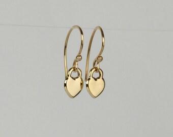 Gold heart earrings, 14k gold dangle earrings, yellow gold earrings, Valentines gift for her, dainty gold earrings