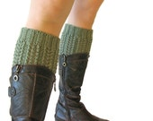 Hand Knitted Openwork Boot Cuffs - Boot Toppers, Leg Warmers - Natural Wool