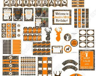 Camo Boy Hunting Party decorations PRINTABLE Deluxe Package  orange camo deer realtree hunting DIY Personalized - Cupcake Express