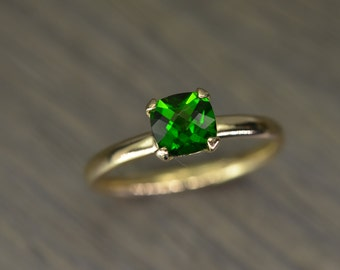 Chrome Diopside Green Ring, cushion silver 14k 18k gold stacking - Aurora Solitaire