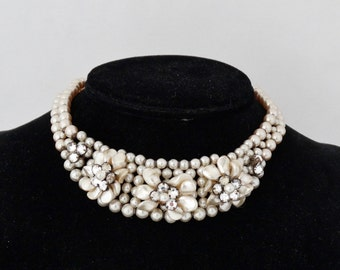Stunning Vintage Louis Rousselet Glass Pearl & Rhinestone Necklace - Made in France