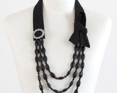 The Collar Necklace - Classic Black - Black linen and matte black glass beads