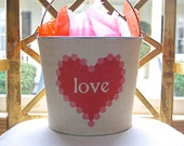 Love Valentine's Day Burlap Bucket