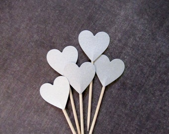 Silver Shimmer Heart Cupcake Toppers, Valentine's Day, Party Decor, Double-Sided, Weddings, Showers, Birthdays, Set of 15
