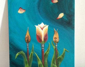 Tulips and Paintbrushes Artists in Bloom Original Acrylic Fine Art Painting - Brandy Woods