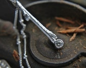 Silver Twig Pendant - Handmade Sterling Silver Branch Necklace With White Moissanite by Thenorthwaystudio.