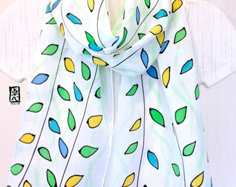 Silk Scarf Handpainted, White Summer Scarf, Green and White Vines Scarf, Green and Blue Scarf, Gift for her, Gift for women, 11x60 inches