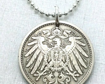 GERMANY NECKLACE - Antique German coin pendant - Imperial Eagle Shield - 10 pfennig - eagle pendant - German jewelry - man necklace