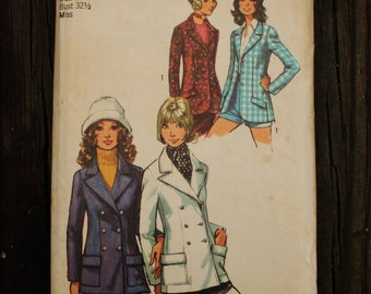 Simplicity 9610 1970s 70s Single Double Breasted Blazer Jacket Vintage Sewing Pattern Size 10 Bust 32.5