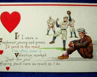 Vintage College Baseball Team Embossed Postcard Valentine's Day Wishes Ivy League Roaring Twenties Freshman Theme