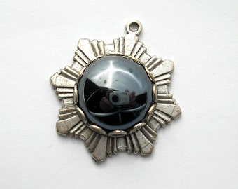 Glass Hematite Pendant in Antiqued Silver