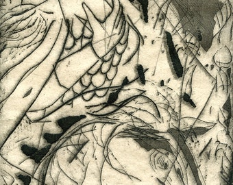 Original Vintage Etching Aquatint Intaglio print; abstract expressionist, signed