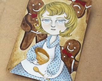 ON SALE 50% DISCOUNT, Original Lowbrow Art of Girl and Gingerbread Man, Acrylic Painting