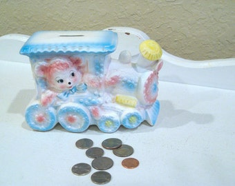 Vintage Piggy Bank - Train with Pink Teddy Bear - Japan - Retro Baby Gift - Shower Gift - Baby Room Decor