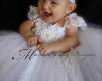 Baby Christening Dress /Baby Baptism Dress/ Blessing Dress / Flower Girl Dress / Infant White Tutu Dress