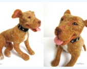 Needle felted dog, realistic cat, CUSTOM pet portrait, posable replica, MADE to ORDER, likness your dog, pit bull, bull terrier, dobermann