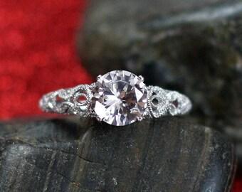 White Sapphire Engagement Ring Antique Style Prong Filigree 2cts 8mm Round Andromeda Custom Siz White-Yellow-Rose Gold-10k-14k-18k-Platinum