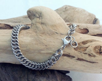 Petite Stainless Steel Chainmaille Boyfriend Girlfriend Bracelet - Ready to Ship