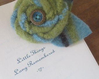 Turquoise and Green Recycled Wool Flower Brooch Pin