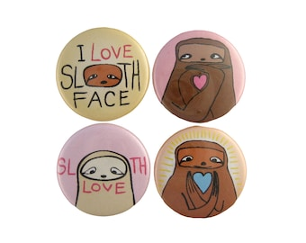 Sloth Love Pins - Set of 4 Sloth PInback Buttons - Pink and Yellow Cute Sloth Buttons