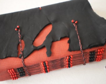Raggedy Blank Journal Red and Black Leather w Beaded Bookmark