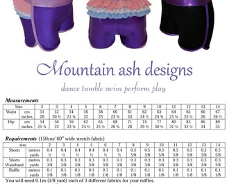 Gymnastics and dance shorts 4 sewing pattern sports shorts ruffle back shorts pdf pattern in girls sizes 2-14
