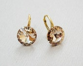 Wedding bridesmaid bridal Peach Swarovski rivoli crystal small gold plated sterling silver leverbacks Silk Swarovski rivoli earrings