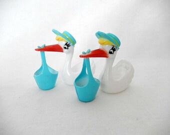 vintage stork baby shower supply, baby shower, baby shower cake decor, miniature stork, miniature stork