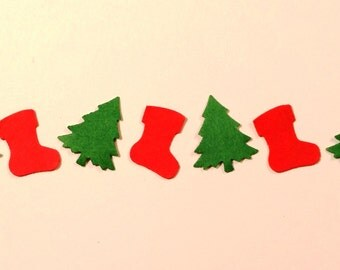 """SALE! Christmas Confetti ~ Christmas Tree & Stocking Confetti Mix, Itty Bitty 1/2"""", Party, Craft, and Christmas Decor"""
