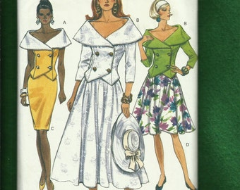 Vogue 8088 Double Breasted Off Shoulder Jackets & Pencil or Super Flared Skirts Sizes  8..10..12 UNCUT