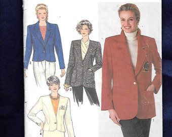 Vintage 1990 Simplicity 9874 Misses'  Lined Semi Fittied Jacket With Princess Seams, And 2 Lengths, Sizes 16 to 24, UNCUT