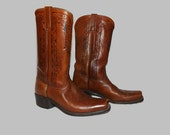 Vintage 70s 80s Mens Tooled Antiqued Brown Leather Square Toe Riding, Motorcycle, Western Boots Size US 9D Made in the USA