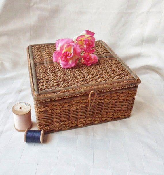 Handmade Sewing Basket : Antique sewing basket with handmade needle holders wooden