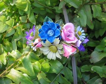Vintage Flower Garden Ooak Recycled Costume Jewelry Victorian Bracelet Bangle