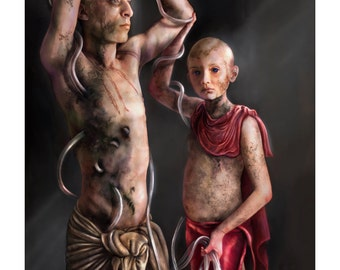 The Trials of St. Sebastian: Hyacinth - Art Print by MANDEM - [Medical Trials of the Saints] Mythology / saints / gods / LGBT / icon art