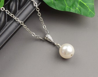 White Pearl Necklace - Silver Swarovski Pearl Bridesmaid Necklace - Pearl Bridal Necklace - Bridesmaid Jewelry - Wedding Jewelry