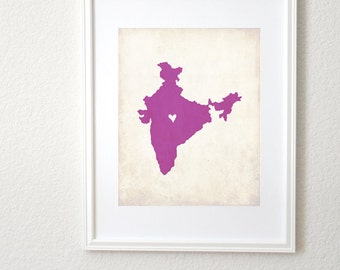 India Country Personalized Map Art 8x10 Print