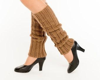 SALE--Taupe Knit Leg Warmers, Crocheted Leggings, Handmade Women's Warm, Soft, Winter Accessory, Dance Wear, Exercise, Ballet, Jazz