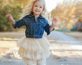 Cream Ruffle Lace Skirt Pettiskirt Tutu - Vintage Look - Flower Girl Rustic Wedding  -  18m 24m 2T 3T 4T