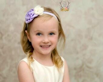 Light Purple & Cream Baby Headband - Lavender Satin Rosette Pearl Rhinestone Newborn Flower Girl Adult Wedding