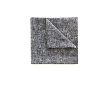 Grey Textured Cotton Pocket square