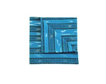 Aqua Ikat Pocket square, guatemalan handwoven