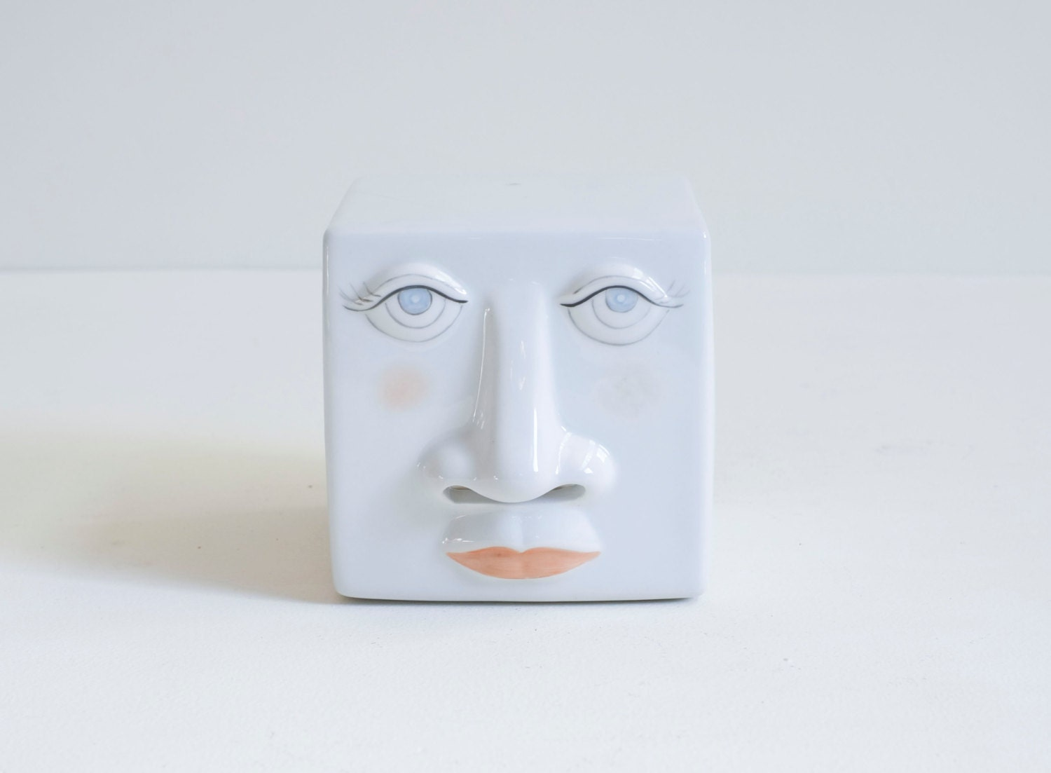 Ceramic face 1980 39 s cube kleenex tissue box holder - Nose tissue dispenser ...