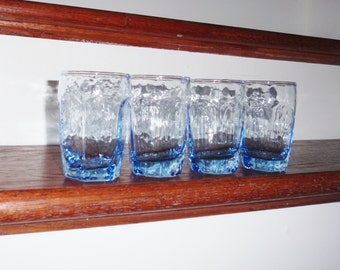 """4 CHIVALRY JUICE LIBBEY Light Blue Rock Sharpe Glasses Flat Tumblers  6 Oz 3 3/4"""" High Heavy Textured Crystal Set Four Excellent Condition"""