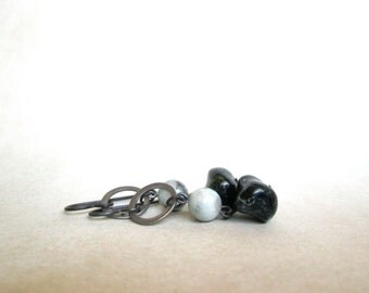 Stone Earrings agate natural stone black gray blue silver by Nancelpancel on Etsy