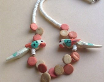 80's Wooden Parrot & Discs Necklace, bright color, coral, turquoise, spring / summer / beach, Parrots, wood discs, egst, Greece