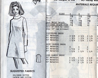 "1960s Women's Long Sleeve or Sleeveless Dress Pattern - Size 12, Bust 34"" - Mail Order 1-429 uncut"