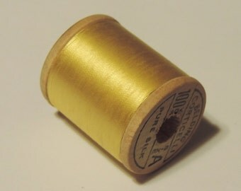 Vintage 1930's Corticelli Pure Silk Hand Sewing Embroidery Thread 100 Yd. Wooden spool Shade 3030 Pretty Yellow