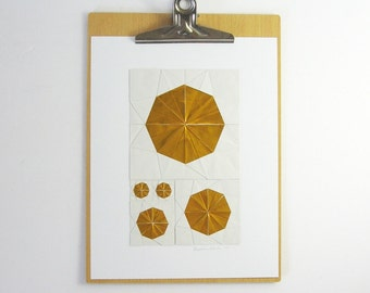 Gold Paper Collage - Origami Sketch No26 - Modern Art - Metallic Gold Art - Modern Home Decor - Paper Anniversary Geometric Art Origami Art
