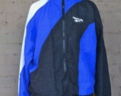 90s Reebok Windbreaker Black Blue White Zip Up Jacket